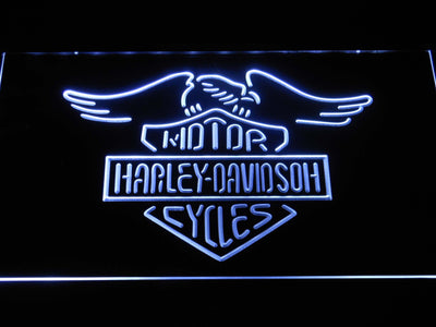 Harley Davidson Motorcycles LED Neon Sign - White - SafeSpecial