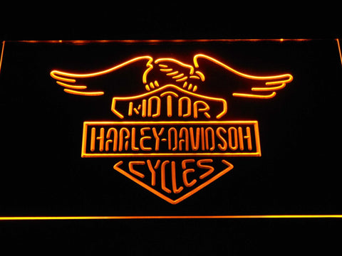 Harley Davidson Motorcycles LED Neon Sign - Yellow - SafeSpecial