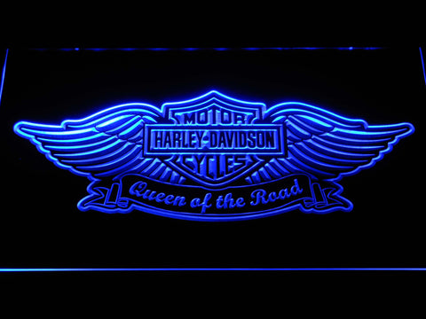 Harley Davidson Queen of the Road LED Neon Sign - Blue - SafeSpecial