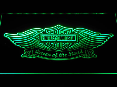 Harley Davidson Queen of the Road LED Neon Sign - Green - SafeSpecial