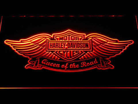 Harley Davidson Queen of the Road LED Neon Sign - Orange - SafeSpecial