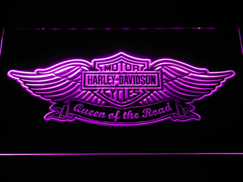 Harley Davidson Queen of the Road LED Neon Sign - Purple - SafeSpecial