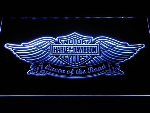 Harley Davidson Queen of the Road LED Neon Sign - White - SafeSpecial