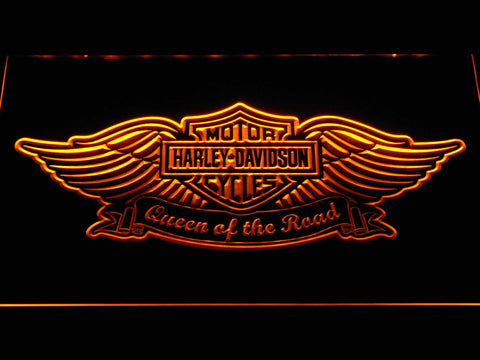 Harley Davidson Queen of the Road LED Neon Sign - Yellow - SafeSpecial