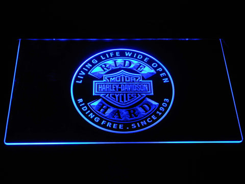 Harley Davidson Ride Hard LED Neon Sign - Blue - SafeSpecial