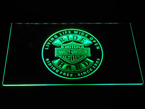 Harley Davidson Ride Hard LED Neon Sign - Green - SafeSpecial