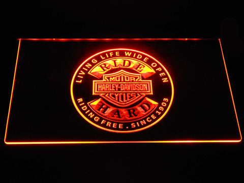 Harley Davidson Ride Hard LED Neon Sign - Orange - SafeSpecial