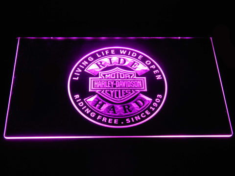 Harley Davidson Ride Hard LED Neon Sign - Purple - SafeSpecial