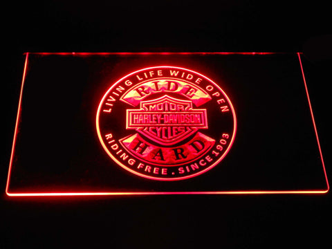 Harley Davidson Ride Hard LED Neon Sign - Red - SafeSpecial