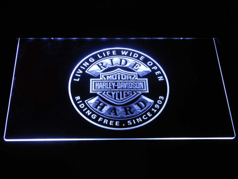 Image of Harley Davidson Ride Hard LED Neon Sign - White - SafeSpecial