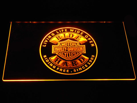 Harley Davidson Ride Hard LED Neon Sign - Yellow - SafeSpecial