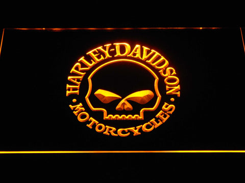Harley Davidson Skull LED Neon Sign - Yellow - SafeSpecial