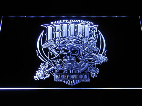 Image of Harley Davidson Skull Ride LED Neon Sign - White - SafeSpecial
