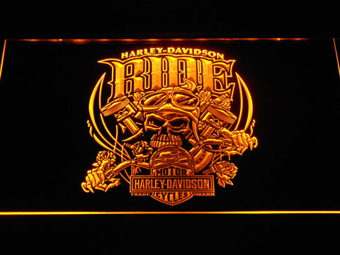 Image of Harley Davidson Skull Ride LED Neon Sign - Yellow - SafeSpecial