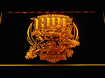 Harley Davidson Skull Ride LED Neon Sign - Yellow - SafeSpecial