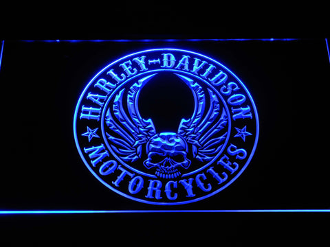 Harley Davidson Skull with Wings LED Neon Sign - Blue - SafeSpecial