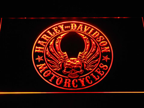Harley Davidson Skull with Wings LED Neon Sign - Orange - SafeSpecial