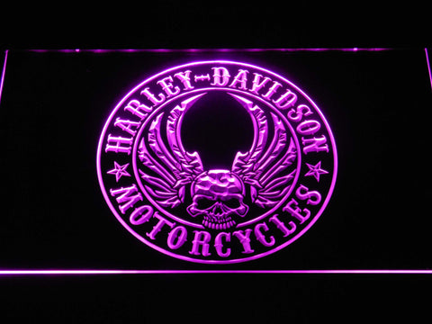 Harley Davidson Skull with Wings LED Neon Sign - Purple - SafeSpecial