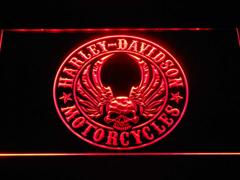 Harley Davidson Skull with Wings LED Neon Sign - Red - SafeSpecial