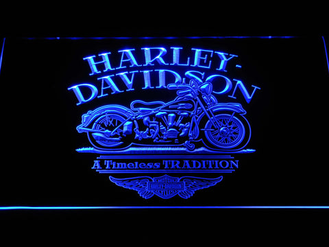 Image of Harley Davidson Timeless Tradition LED Neon Sign - Blue - SafeSpecial
