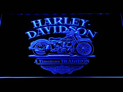 Harley Davidson Timeless Tradition LED Neon Sign - Blue - SafeSpecial