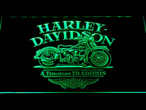Image of Harley Davidson Timeless Tradition LED Neon Sign - Green - SafeSpecial