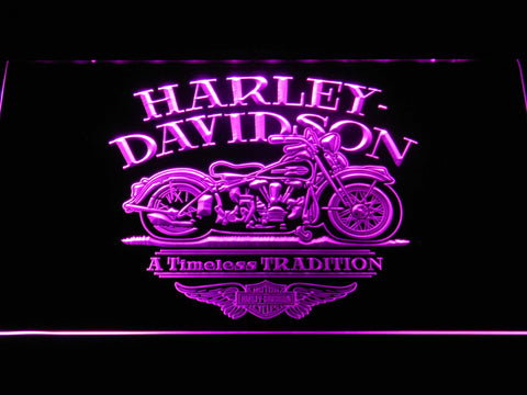 Image of Harley Davidson Timeless Tradition LED Neon Sign - Purple - SafeSpecial