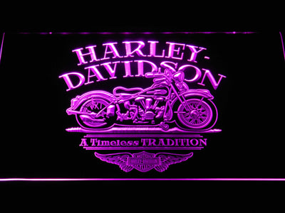 Harley Davidson Timeless Tradition LED Neon Sign - Purple - SafeSpecial