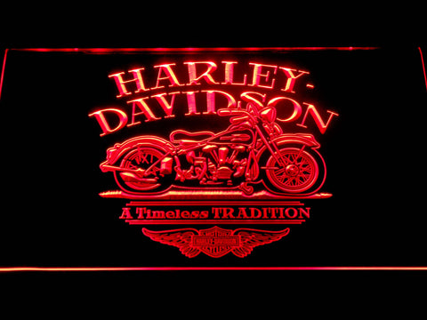 Image of Harley Davidson Timeless Tradition LED Neon Sign - Red - SafeSpecial
