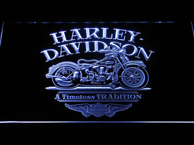 Harley Davidson Timeless Tradition LED Neon Sign - White - SafeSpecial