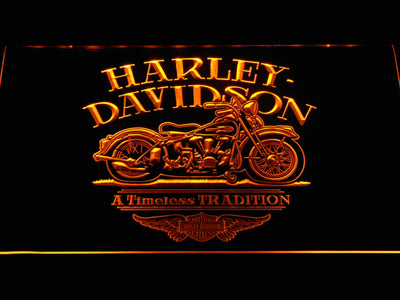 Harley Davidson Timeless Tradition LED Neon Sign - Yellow - SafeSpecial