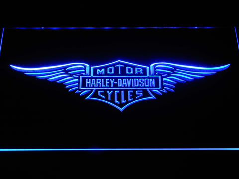 Image of Harley Davidson Wings LED Neon Sign - Blue - SafeSpecial