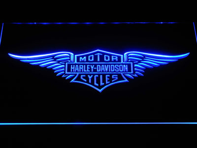 Harley Davidson Wings LED Neon Sign - Blue - SafeSpecial