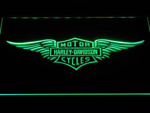 Image of Harley Davidson Wings LED Neon Sign - Green - SafeSpecial