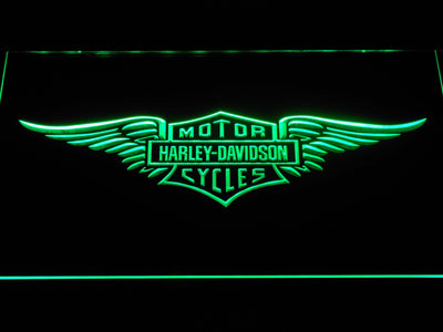 Harley Davidson Wings LED Neon Sign - Green - SafeSpecial