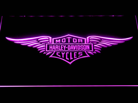 Image of Harley Davidson Wings LED Neon Sign - Purple - SafeSpecial