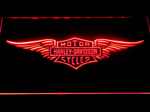 Image of Harley Davidson Wings LED Neon Sign - Red - SafeSpecial