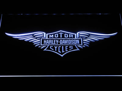 Harley Davidson Wings LED Neon Sign - White - SafeSpecial