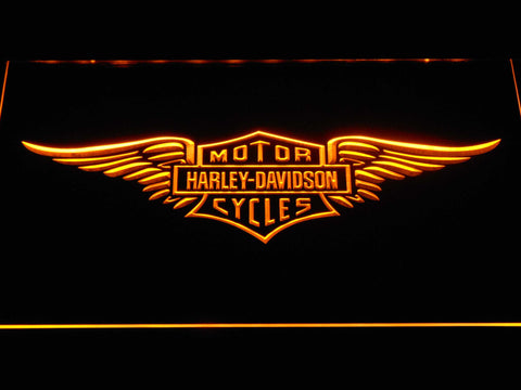 Image of Harley Davidson Wings LED Neon Sign - Yellow - SafeSpecial