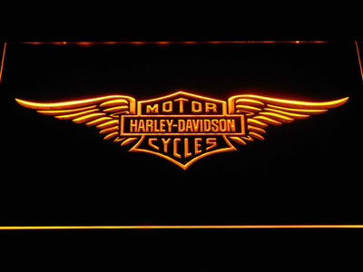 Harley Davidson Wings LED Neon Sign - Yellow - SafeSpecial