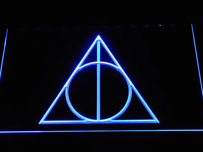 Harry Potter Deathly Hallows Logo LED Neon Sign - Blue - SafeSpecial