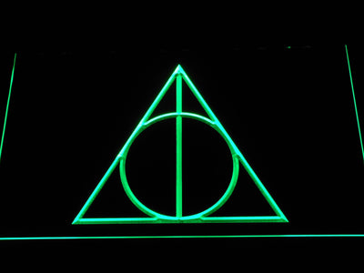 Harry Potter Deathly Hallows Logo LED Neon Sign - Green - SafeSpecial