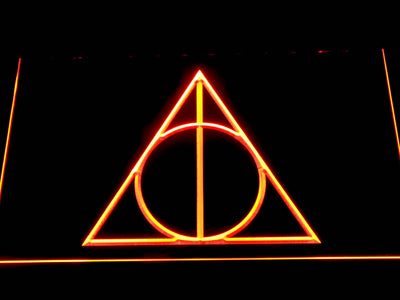 Harry Potter Deathly Hallows Logo LED Neon Sign - Orange - SafeSpecial