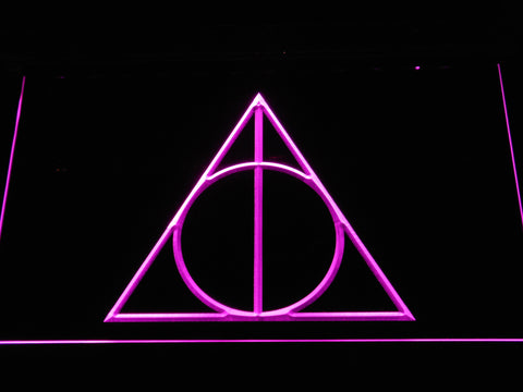 Image of Harry Potter Deathly Hallows Logo LED Neon Sign - Purple - SafeSpecial