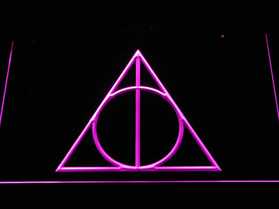 Harry Potter Deathly Hallows Logo LED Neon Sign - Purple - SafeSpecial