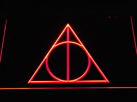 Image of Harry Potter Deathly Hallows Logo LED Neon Sign - Red - SafeSpecial