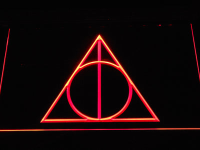 Harry Potter Deathly Hallows Logo LED Neon Sign - Red - SafeSpecial