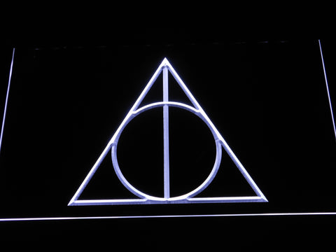 Image of Harry Potter Deathly Hallows Logo LED Neon Sign - White - SafeSpecial
