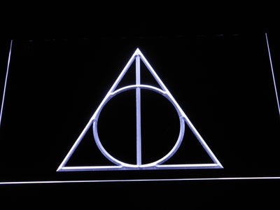 Harry Potter Deathly Hallows Logo LED Neon Sign - White - SafeSpecial