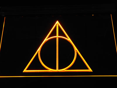 Harry Potter Deathly Hallows Logo LED Neon Sign - Yellow - SafeSpecial